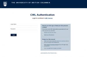 UBC Campus-Wide Login (CWL)